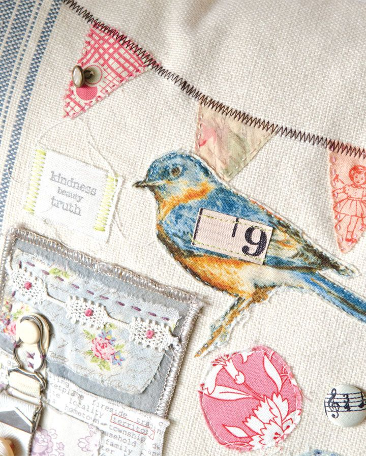 Lisa Super's sampler pillow has little bits that you wouldn't expect to find on a pillow. If it was light enough to attach with a needle and thread, she stitched it on to this oversized pillow. | Somerset Life Summer 2015