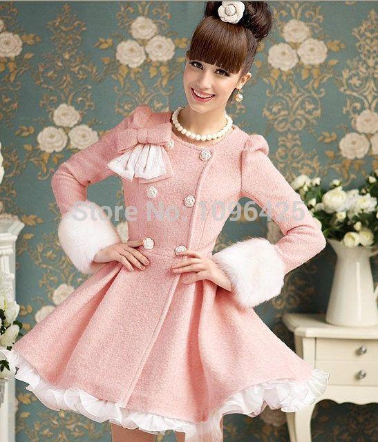 Новый зима двубортный пальто женское платье шерсть пальто прекрасный рюшами принцесса мода верхняя одежда S / M / L / XL C24