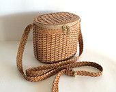 Vintage Braided Woven Leather Basket Crossbody Bag Purse