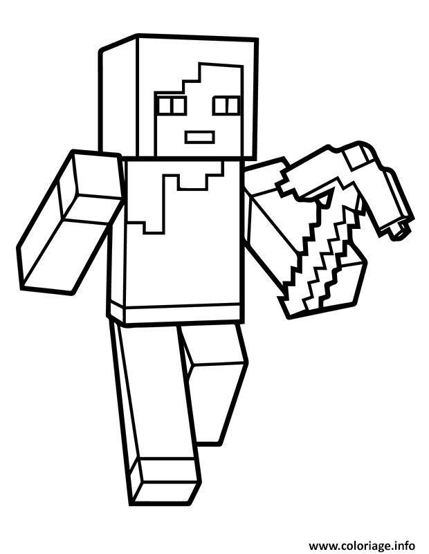 Coloriage Minecraft Alex A Imprimer Coloriage Minecraft Dessins Minecraft Coloriage