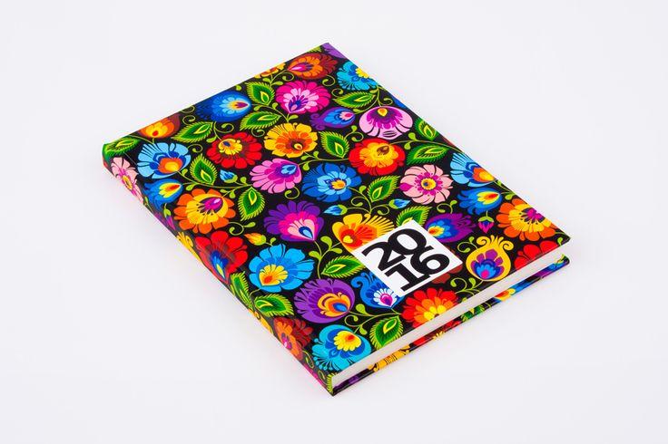 Kalendarz książkowy FOLK 2016 format A5 - łowicki czarny