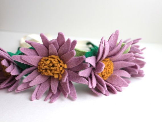 Lilac Daisy Felt Flower Crown Flower Headband by TheFloralFoundry