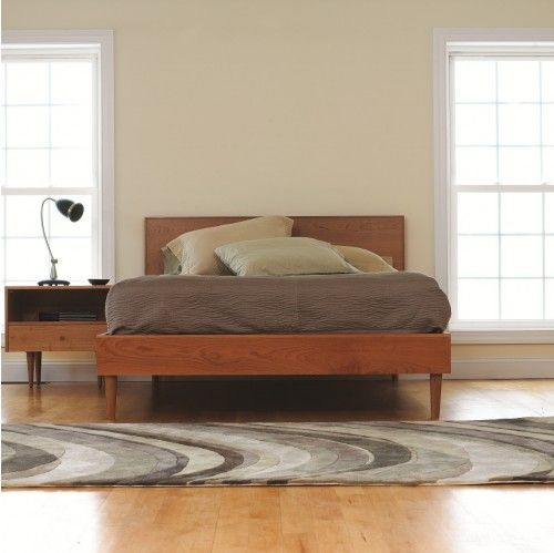spectra asher bed and nightstand in natural cherry - Mid Century Bed Frame