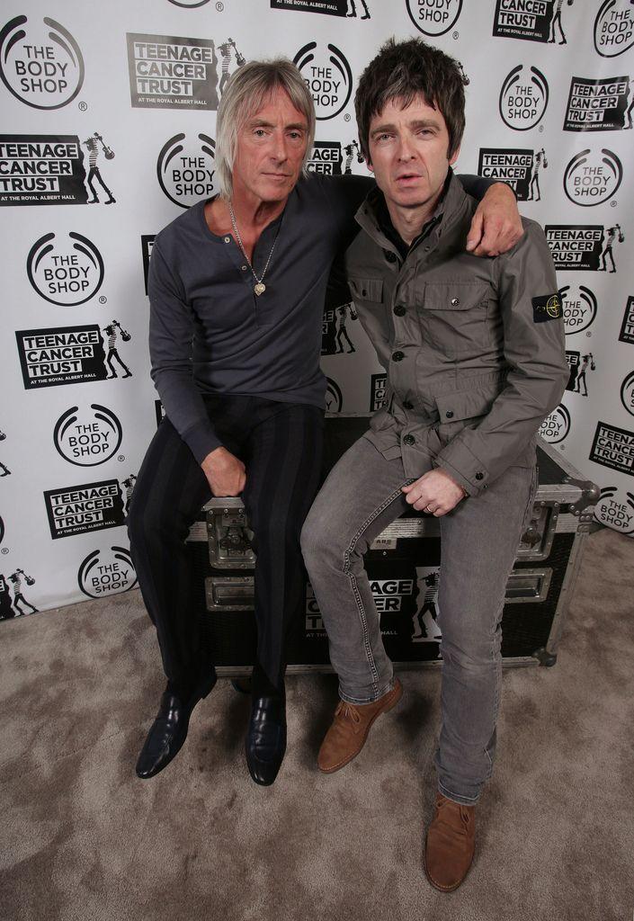 Noel Gallagher (left) and Paul Weller backstage before Weller's Teenage Cancer…