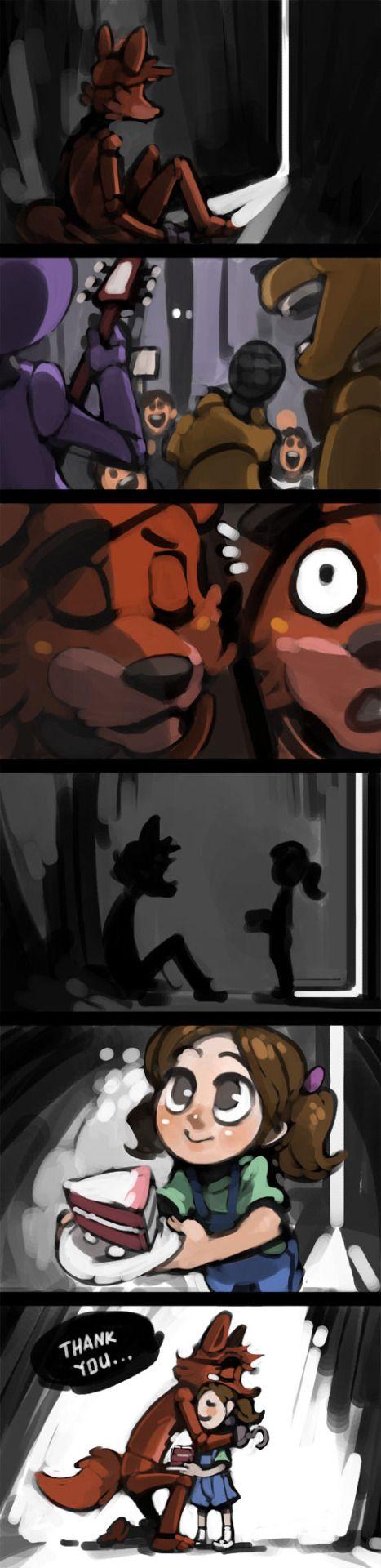 Pobre Foxy en la oscuridad todos los otros chicos con Freddy, Bonnie y Chica menos una nena que le fue a llevar una torta.
