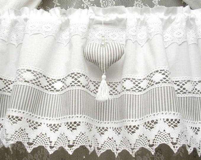 Vintage Landhausgardine Gardine Herz Spitzen Vorhang