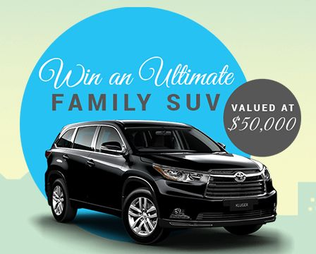 Hey there,I just entered to Win  an Ultimate Family SUV valued at $50,000 - Toyota Kluger GX5D Automatic AWDYou can Enter too here -