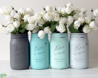 Quart size Kerr mason jars are painted for a vintage, beach and cottage look. Great for weddings and centerpieces. Sets of 4 jars. The colors are