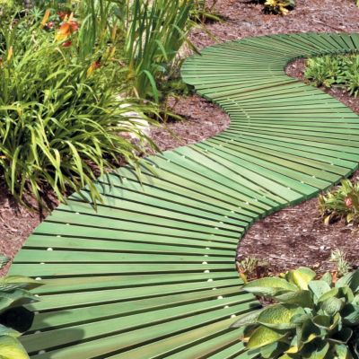 Curved Wooden Walkway- great texture path for wheelchairs to go over!