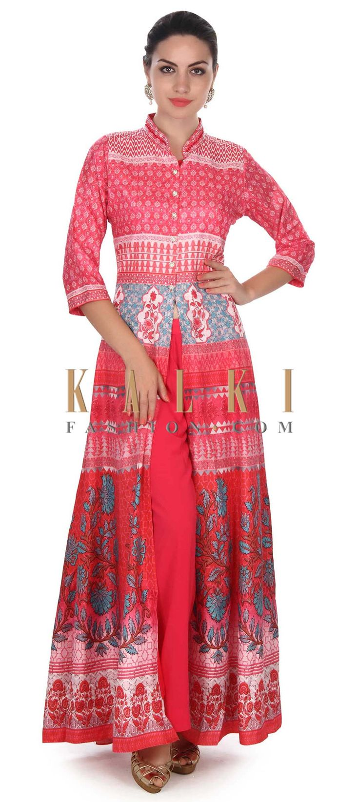 Buy this Pink printed suit with fancy buttons only on Kalki