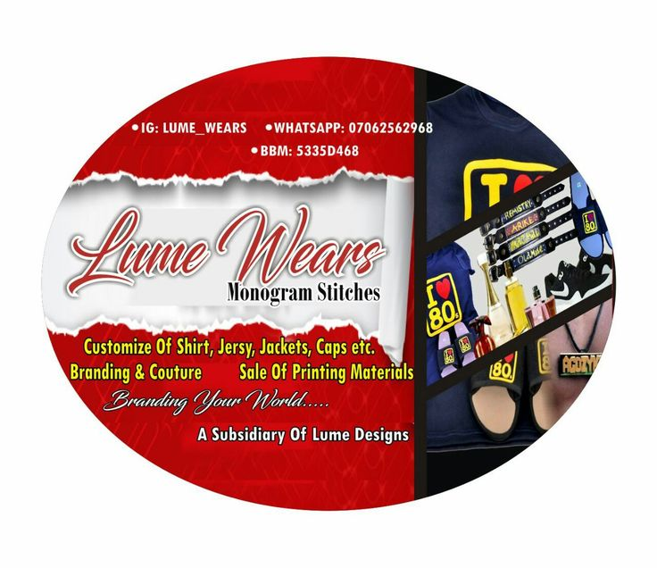 Get the best official customization of  shirt,jersey,jackets, caps, footwear etc from us at LUME WEARS we make top quality branding of fabrics and sales of printing materials etc. We give the best branding solutions to all your wear needs in nigeria, call us up on 07062562968(whtapp), I.G-lume_wears, 5333D468(bbm). #monogramming #brandingyourworld  #Nigeriagifts