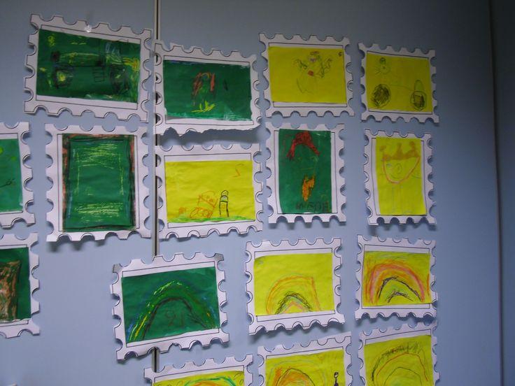 Begeleide of zelfstandige activiteiten - Postzegel ontwerpen met wasco en ecoline
