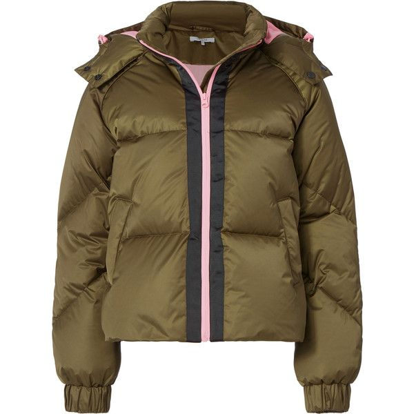 Ganni Vandalia Olive Puffer Jacket ($440) ❤ liked on Polyvore featuring outerwear, jackets, green camo jacket, brown puffer jacket, feather jacket, brown jacket and puffer jacket