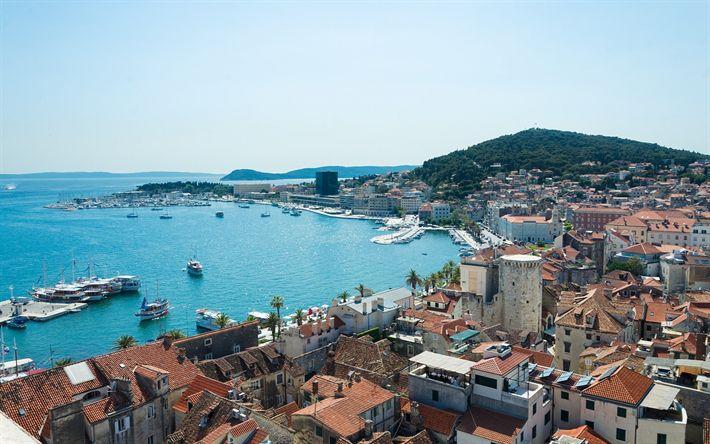 Hämta bilder Split, Adriatiska havet, kusten, resort, stränder, sommar, Dalmatien, Kroatien