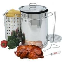 Bayou Classic Fryers 32 Quart Stainless Steel Turkey Fryer With Rack. Featured in Chef Tony Matassa's turkey frying video.