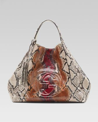 Soho Python Shoulder Bag, Large by Gucci at Neiman Marcus.: Shoulder Bags, Chanel Handbags, Multi Colors, Gucci Soho, Soho Python, Design Handbags, Gucci Pur, Colors Python, Python Shoulder