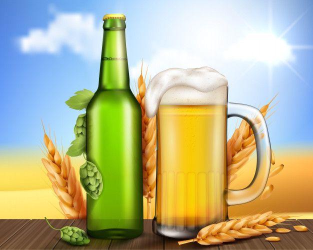 Botella de vidrio verde y taza con cerveza artesanal Vector Gratis