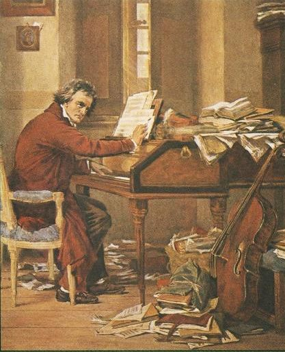 Beethoven. (I'm feeling a bit better about the small piles of papers on my desk!)