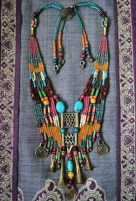 Loving this look for Spring! See garnetandjune.com/boho for more inspired looks.  Tribal Inspired Necklace