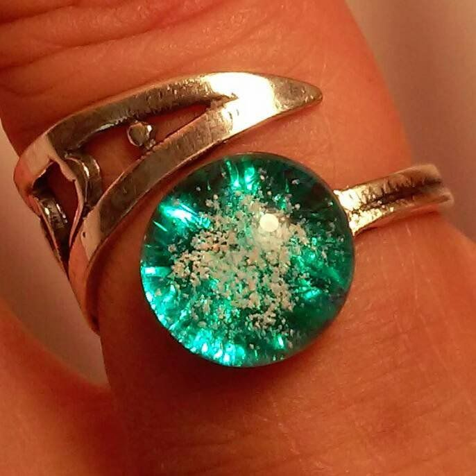 Cremation Jewelry Ring Adjustable Ashes InFused in Glass Urn Sterling Silver BEST SELLER