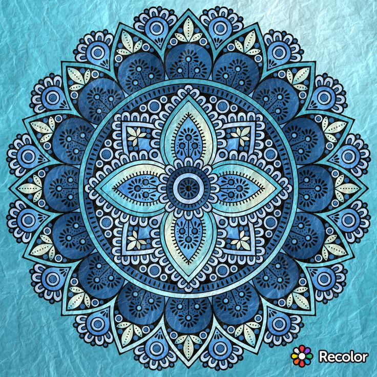 Shades of Blue Mandala; Gradient effects on crumpled paper