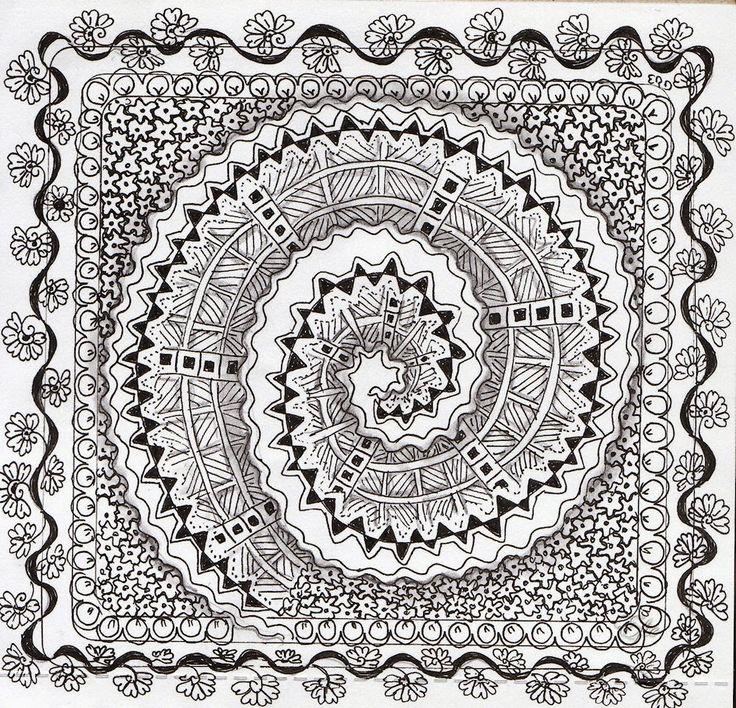 Efie goes Zentangle: no 53 ..borders for joey and de diva 210 spiralstr...