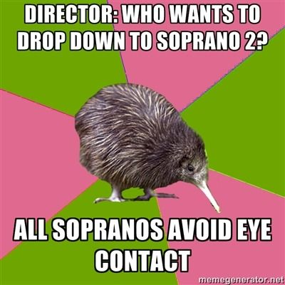Lol I actually drop down to soprano two to see how my voice blends with everyone else around me singing some thing else!