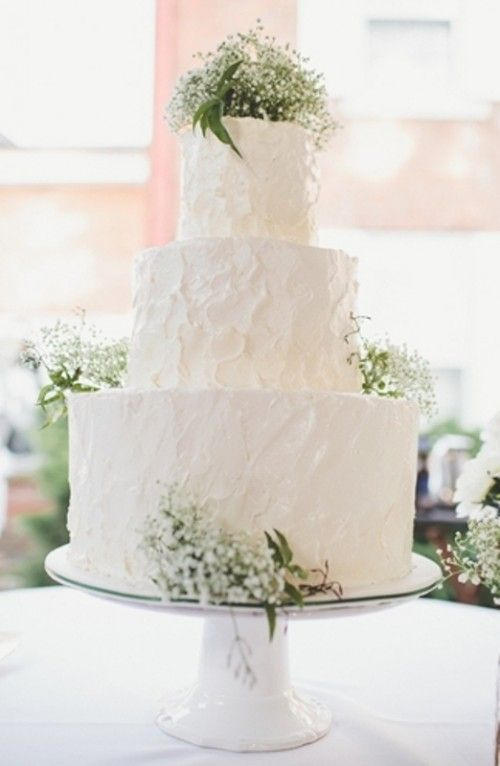 wedding cake - simple, classy, all white w/ accents