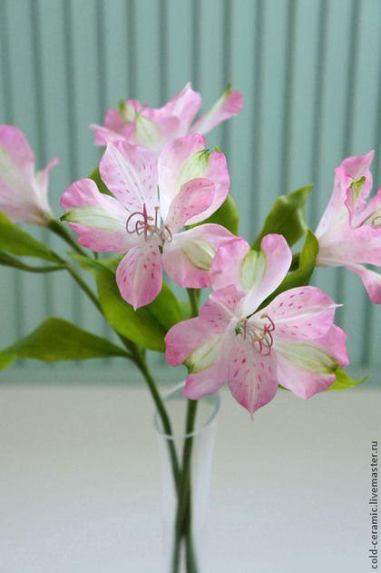 Альстромерия - розовый,цветы из глины,керамическая флористика,полимерная глина