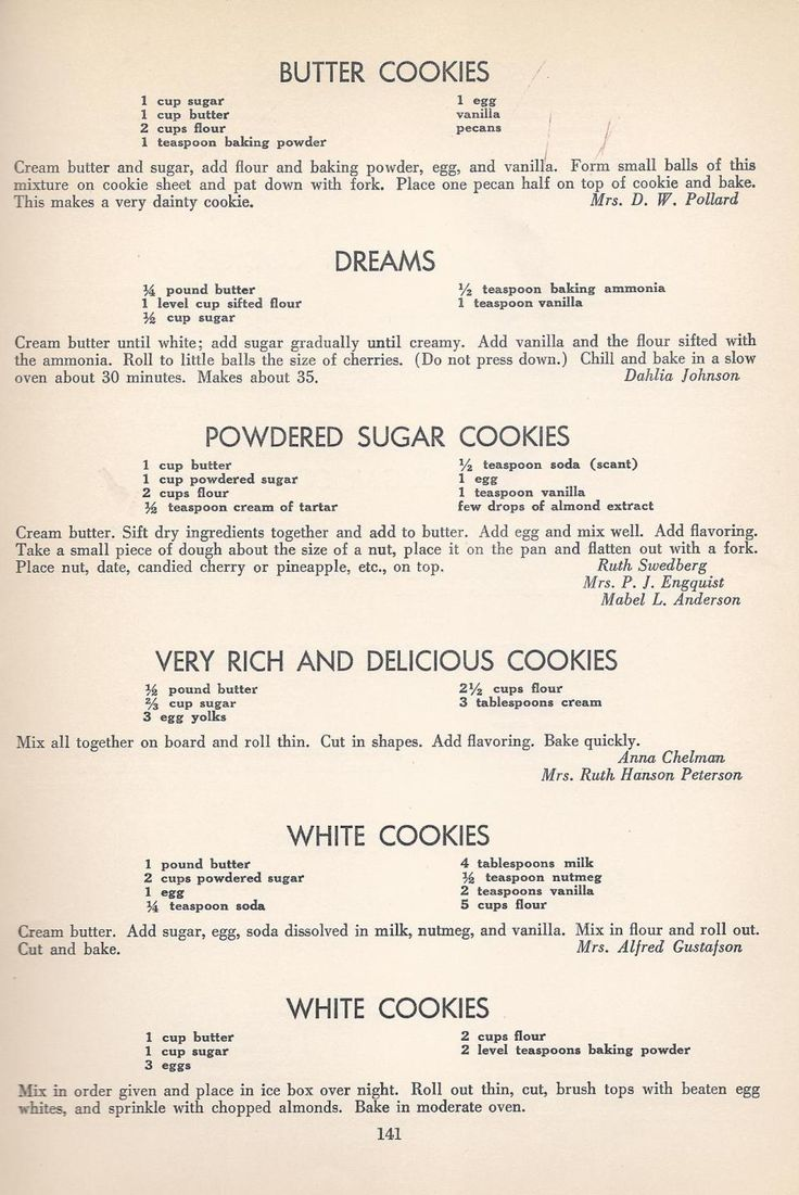 Vintage Cookies Recipes From 1940 | We love the powdered sugar cookies but don't put anything on top.