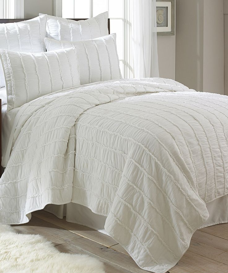 Look at this White Ruffle Quilt Set on #zulily today!