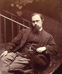 Dante Gabriel Rossetti (12 May 1828 – 9 April 1882) was an English poet, illustrator, painter and translator. He founded the Pre-Raphaelite Brotherhood in 1848 with William Holman Hunt and John Everett Millais, and was later to be the main inspiration for a second generation of artists and writers influenced by the movement, most notably William Morris and Edward Burne-Jones. His work also influenced the European Symbolists and was a major precursor of the Aesthetic movement.