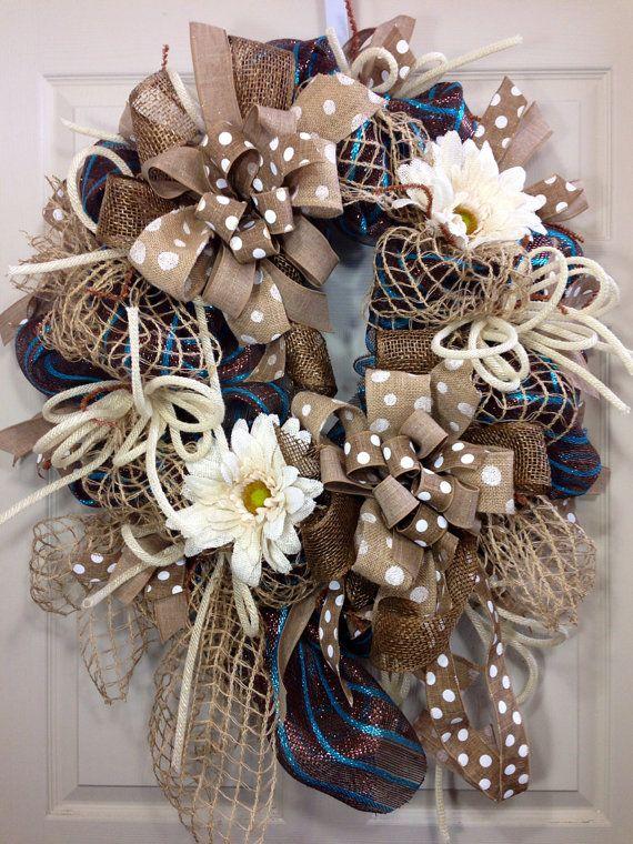 Spring / Summer Mesh Wreath on Etsy, $115.00