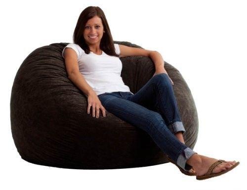College Dorm Room 4 Foot Large Memory Foam Suede Comfort Bag Chair Black Onyx