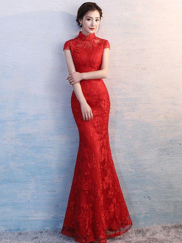 Abiti Da Sposa Cinesi.Red Embroidered Long Qipao Cheongsam Wedding Dress Abiti