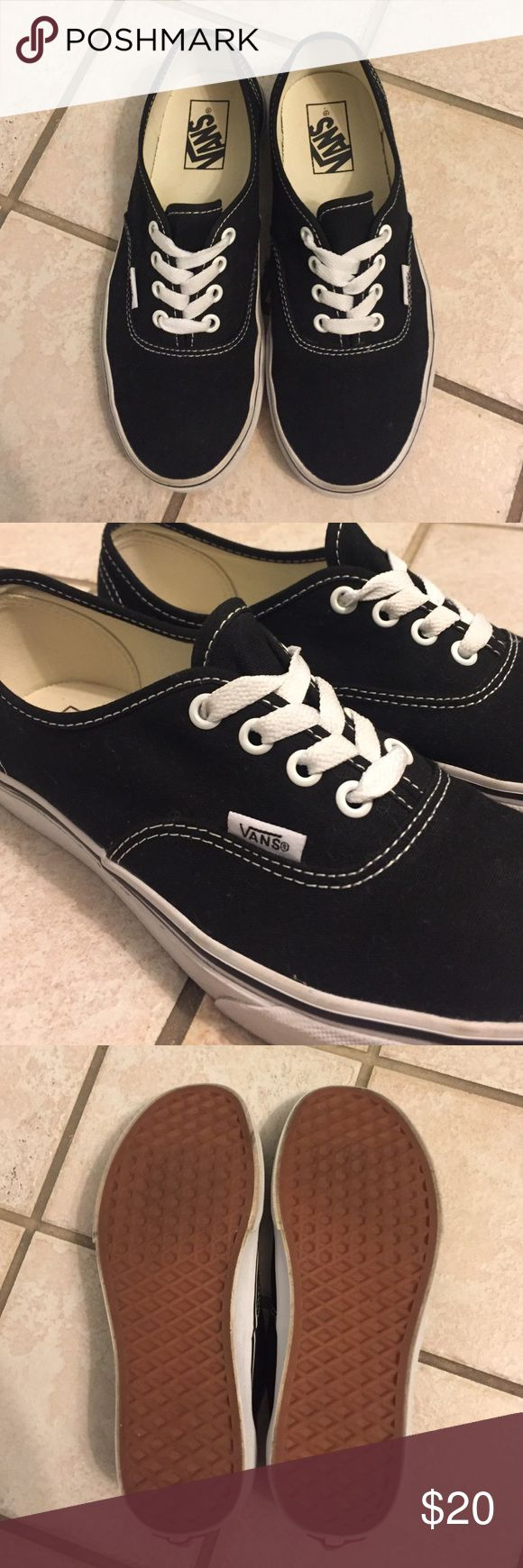 Vans Authentic Black and White sneakers Black vans sneakers with white detailing. Only worn once. Vans Shoes Sneakers