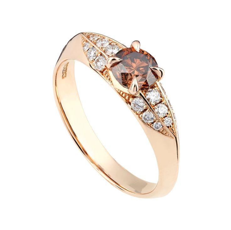 Chocolate diamond and rose gold engagement ring by baroque bespoke jewellery  #browndiamond #chocolatediamond