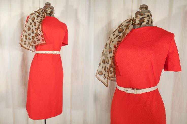 Vintage 1960s Dress - 60s Large Red Mod Dress, Plus Size Twiggy Mini Dress, Bright Red Dress by RockabillyRavenVtg on Etsy