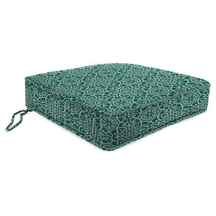 Outdoor Boxed Edge Seat Cushion In Ayathena Teal - Jordan Manufacturing, Lagoon Turquoise