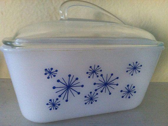 Vintage Mid Century Modern Rare Blue Starburst Atomic Glasbake Casserole or Baking Dish with Lid