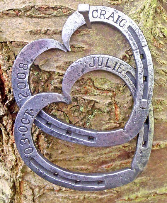 Blacksmith Forged Entwined Horseshoes by AslocktonForge on Etsy