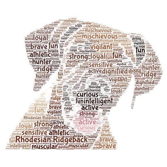 """Rhodesian Ridgeback hond woord unique kunst ingelijste afdrukken 10 x 8""""(ongeveer)"""