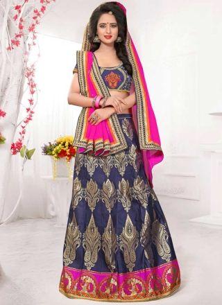 Navy Blue Magenta Georgette Banarasi Silk Fancy Designer Wedding Lehenga Choli http://www.angelnx.com/Lehenga-Choli/Designer-Lehenga-Choli