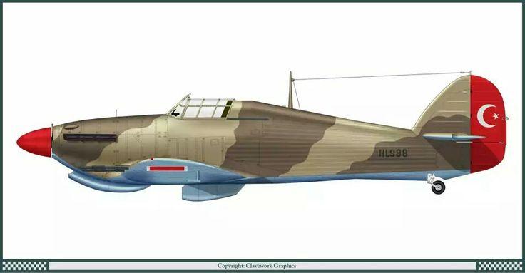 Hawker Hurricane Mk II C turkish air force 1942 - pin by Paolo Marzioli