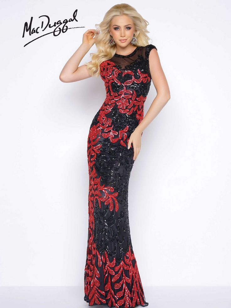 Floor length, sheer illusion sweetheart neckline, fully sequined, column prom dress with small train. Available in two classic color combinations, Black/Red and White/Black.