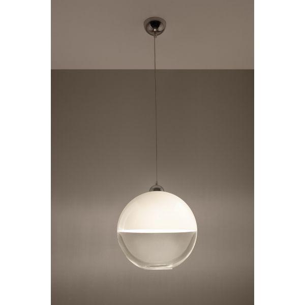 Lampa Wisząca Na Sufit Szklana Kula Zwis GINO Biały – Sklep Lampex