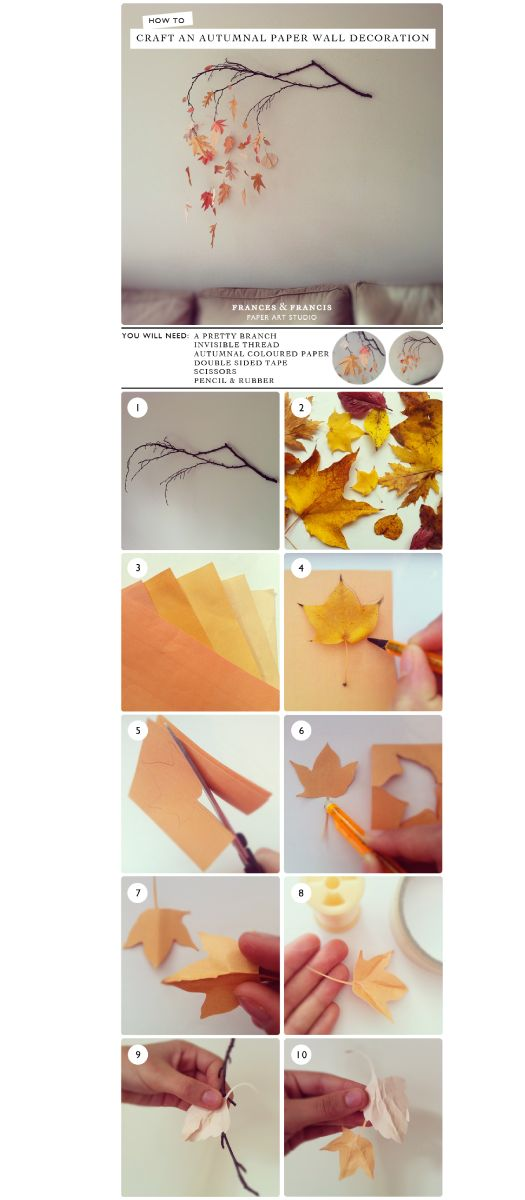 Autumn Paper Wall Decoration - Pretty branch, Invisible thread, Autumnal colored paper, Double-sided tape, Scissors, Pencil & Paper