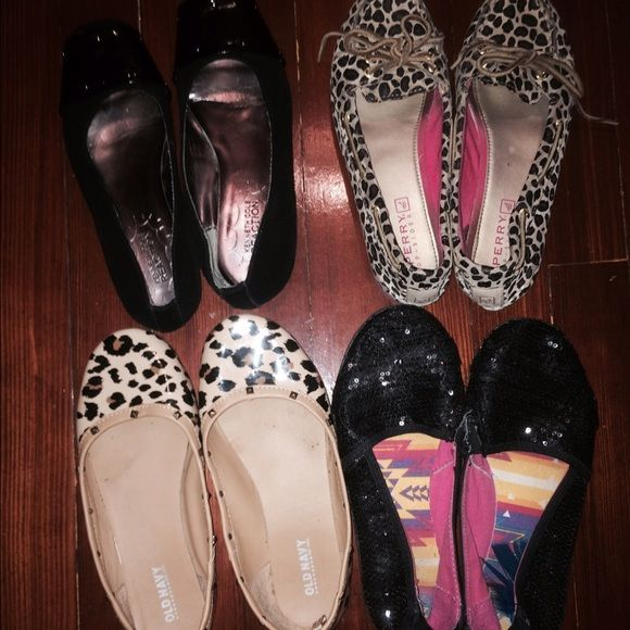 /Kenneth Cole shoes bundle 5/5.5 Black Kenneth Cole patent flats, sperry topsiders leopard(sold)-old navy leopard, Kenneth Cole black sequin. All size 5/5.5 Shoes