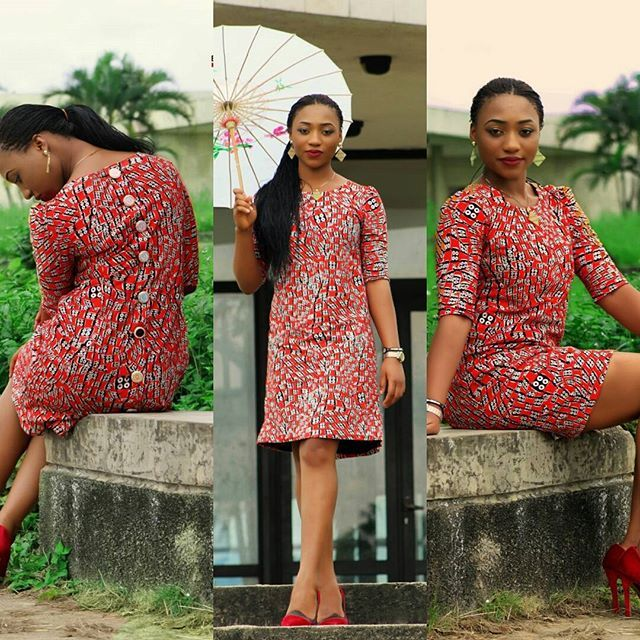 The Ankara shift dress with back buttons... Available for order in all sizes #ankara #ankarastyles #shiftdress #fashiondesigner #wedidntcometoplay #detailing #ankarafashion #pearlsaddiction Model @merkysa MakeUp by @pearlveedesigns Shot by @wilsoniqu3