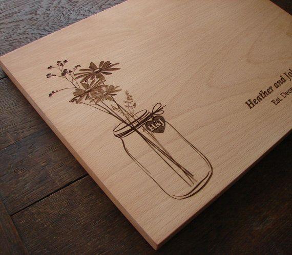 Mason Jar Custom Cutting Board Wedding Present Bridal Shower Gift Anniversary Personalized Wedding Present Country Kitchen Decor